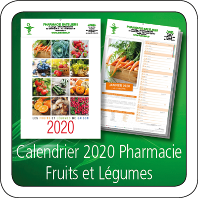 Calendrier 2020 Pharmacie Fruits Legumes