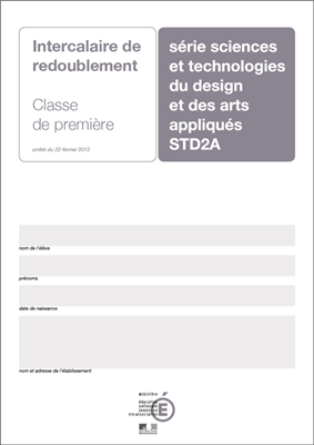 Intercalaires de redoublement STD2A 1ère