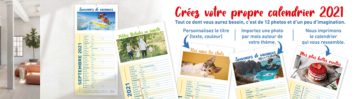 Calendrier 12 mois personnalisable