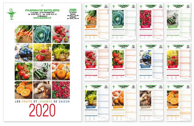 Calendrier 2020 Avec Photos.Calendrier 2020 Fruits Legumes Pour Pharmacie